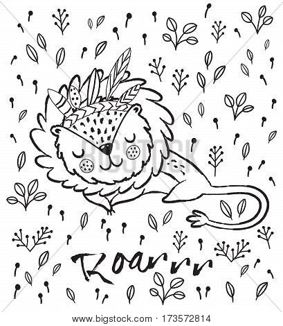 Cartoon character sleeping lion. Black and white vector illustration. Funny cartoon lion vector print with text - Roarrr. Character jungle wild lion with tribal feathers for children coloring book