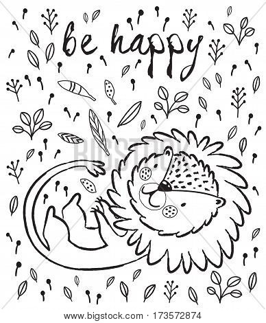 Cartoon character playful lion. Black and white vector illustration. Funny cartoon lion vector print with text - Be happy. Character jungle wild lion with tribal feathers for children coloring book
