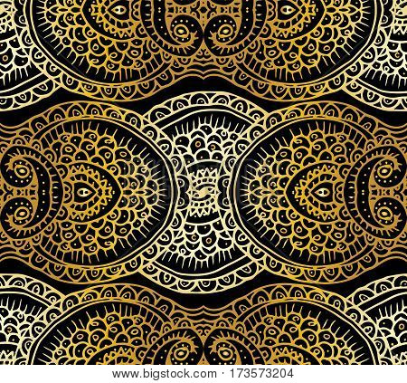 Ethnic tribal abstract background endless gold pattern in vector. Can be used for banner, card, poster, label or web design