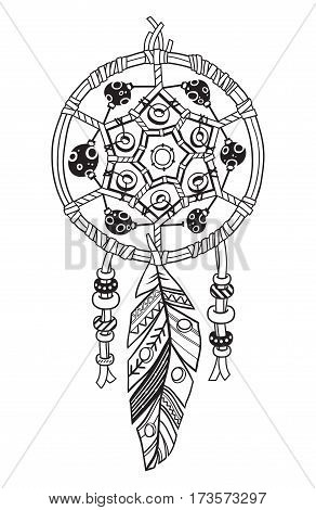 Black and white vector drawing of a dream-catcher talisman isolated on white background. Vector hand drawn illustration with ink. Coloring book for adults.