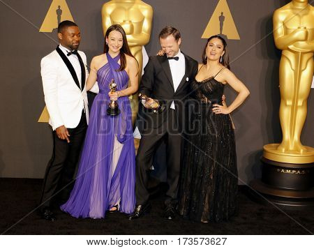 David Oyelowo, Joanna Natasegara, Orlando von Einsiede and Salma Hayek at the 89th Annual Academy Awards - Press Room held at the Hollywood and Highland Center in Hollywood, USA on February 26, 2017.