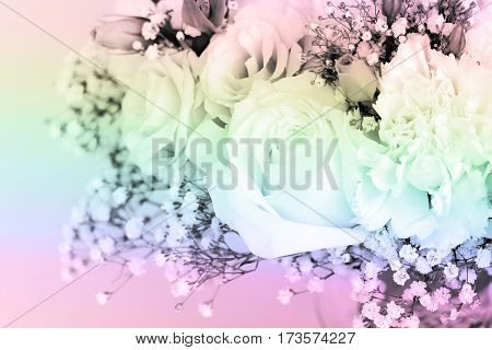 Bouquet of roses decorated picture sweet pastel shades.