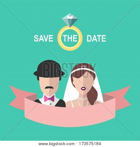Vintage wedding romantic invitation card with ribbon, ring, bride and groom in flat style. Save the Date invitation in vector