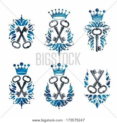 Ancient Keys emblems set. Heraldic Coat of Arms decorative isolated vector illustrations collection.