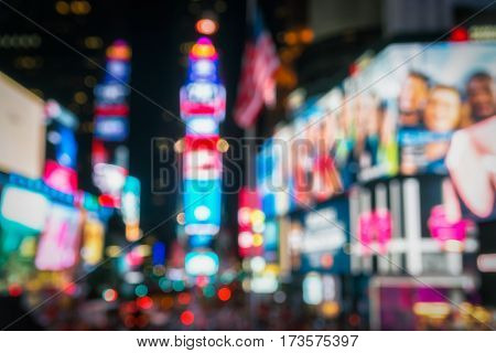 Times Square, New York. Blurred, lowlight, vivid image.