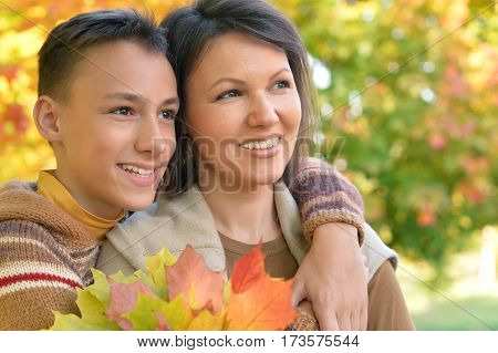 Portrait of a mother with son close up