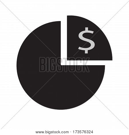 Pie chart with dollar icon on white background. Pie chart with dollar sing.