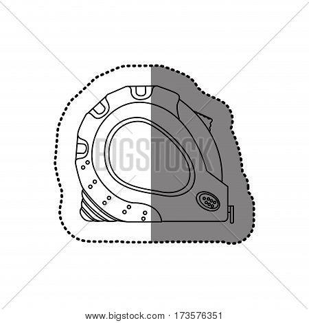 sticker monochrome line contour of tape measure tool vector illustration