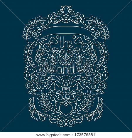 Big wedding graphic set with laurel, wreaths, arrows, ribbons, hearts, flowers, birds and labels in vector