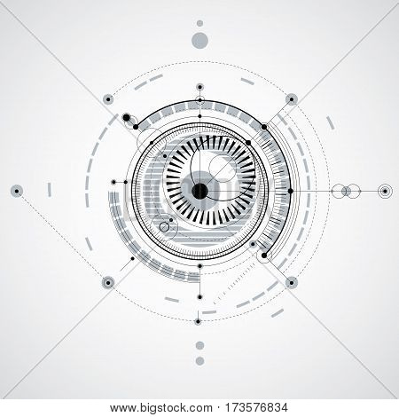 Technical drawing made using dashed lines and geometric circles. Monochrome vector backdrop created in communications technology style engine design.