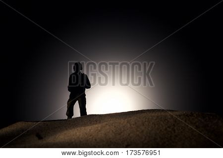 Silhouette Of A Soldier During dark background