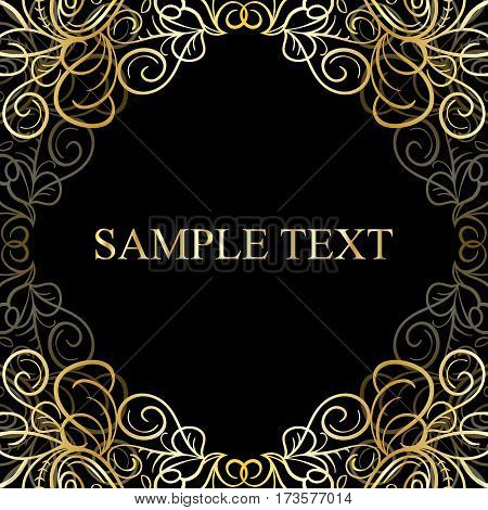 Abstract calligraphic retro luxury golden swirl corner frame with place for text. Can be used for banner, card, poster, label, page decoration or web design