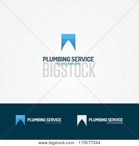 Plumbing service logo set with water drop for used plumbing and heating company, sanitary and hygiene firm, fix and repair leak and pipe etc. Vector Illustration