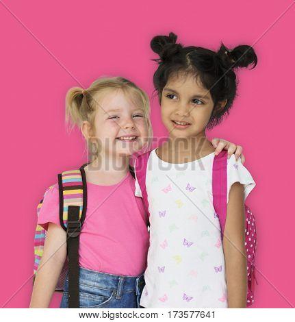 Girls Kids Having Fun Smiling Togetherness
