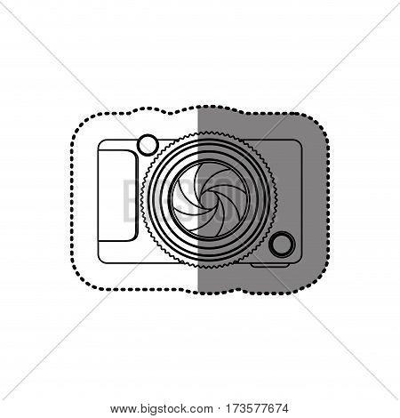 sticker monochrome contour of analog camera vector illustration
