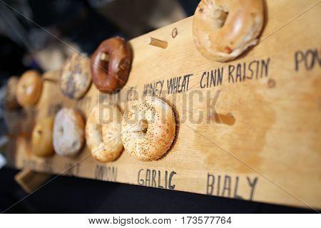 Various Bagels Displayed For Sale At Farmer's Market