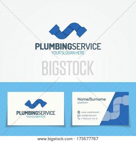 Plumbing service logo set with pipe for used plumbing and heating company, sanitary and hygiene firm, fix and repair leak and pipe etc. Vector Illustration