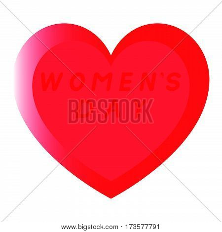 Red Heart For Womens Day With Two Path And An Red Fill Inscription.