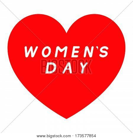 Red Heart For Womens Day With White Fill Signature.