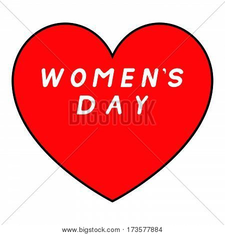 Red Heart With Black Path For Womens Day With White Fill Signature.