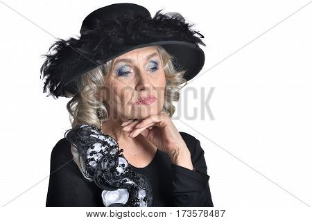 Senior woman in blouse so sad isolate on white