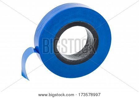 Roll Of Blue Electrical Tape Isolated On White