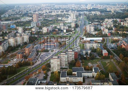 view from the television tower in Vilnius. Lithuania. Vilnius Panorama