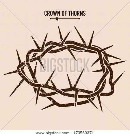 Crown Of Thorns. Silhouette Of A Crown Of Thorns. Jesus Christ. Vector