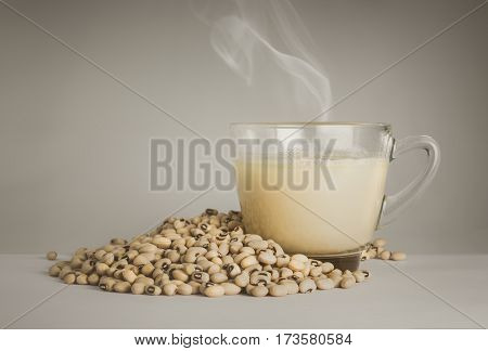 Soy Milk Cup And Soy Bean On Clean Background.