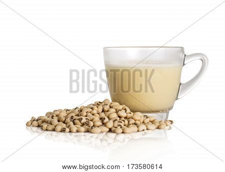 Soy Milk Cup And Soy Bean Isolated On White Background With Clipping Path.