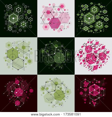 Set of modular Bauhaus vector backgrounds created from simple geometric figures like circles and hexagons. Best for use as advertising poster or banner design.