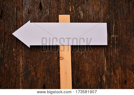 White blank signs pointing in directions nature back ground