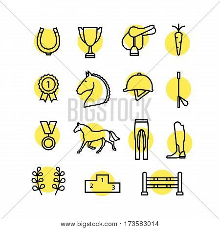 Horse equipment icon set thin line. olor in circle logo, logotype. Yellow sign, symbol. Horseshoe, winner, horse, saddle, equestrian icon. Line icon, equestrian horse logotype.