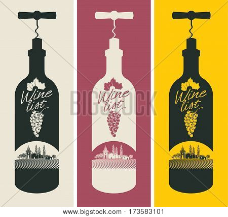 banners set with a bottle of wine with a corkscrew and vineyards and the church
