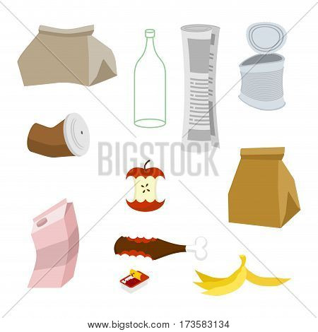 Rubbish Icon Collection. Garbage Set. Trash Sign. Litter Symbol. Peel From Banana And Stub. Tin And