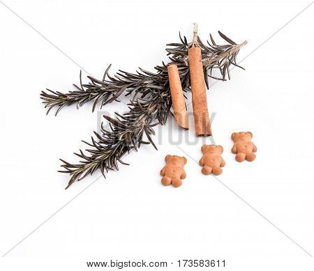 rosemary and cinnamon on a white background