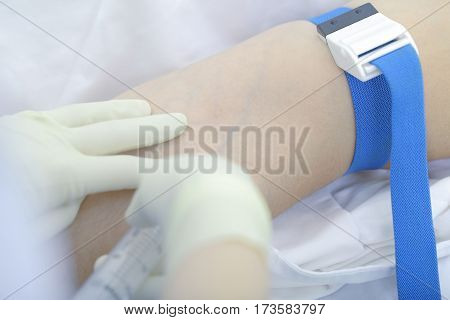 Intravenous injection to the patient. Macro photo