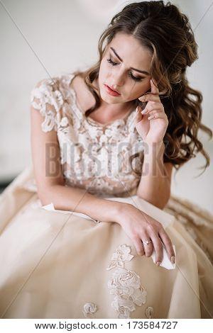 Portrait Of The Bride Crying, Sadness, Streaks Mascara Wipes.