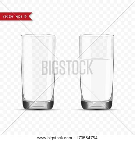 Empty and full glasses of water cup with shadow, vector illustration
