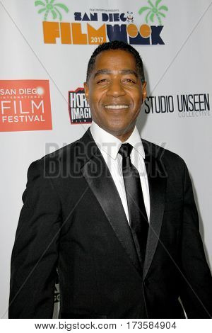 Merrick McCartha arrives at the 2017 San Diego Film Week Closing Reception and Film Awards at T-Short Galleries in San Diego, CA on Feb. 25, 2017.