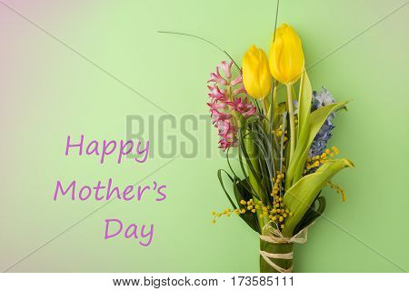 Mothers day card with flower boquet for background