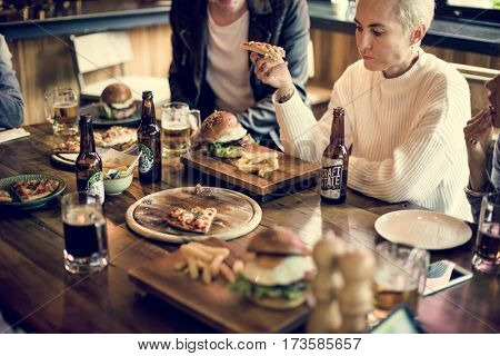Diverse People Eat Food Drinks Restaurant