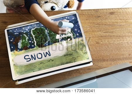 Children painting home winter drawing