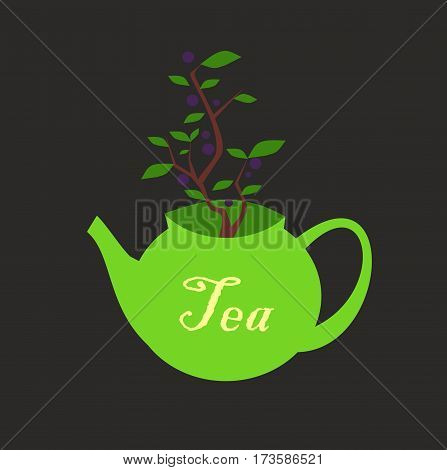 Green teapot with inscription on the side and a blueberry Bush growing out of it. The symbol of the green tea with blueberries. illustration