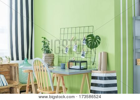 Home Office With Green Plants