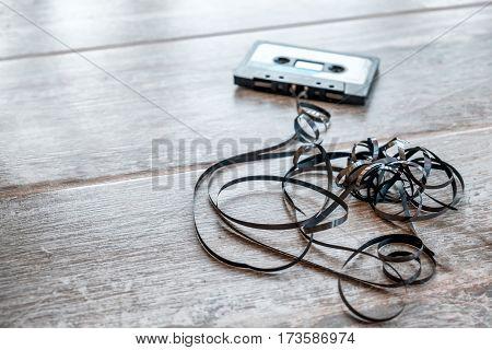 magnetic audio tape background soft focus floor