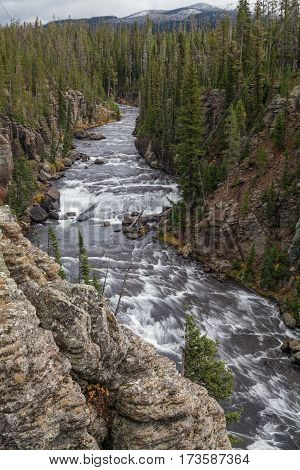 the scenic Lewis River canyon in Yellowstone National Park Wyoming