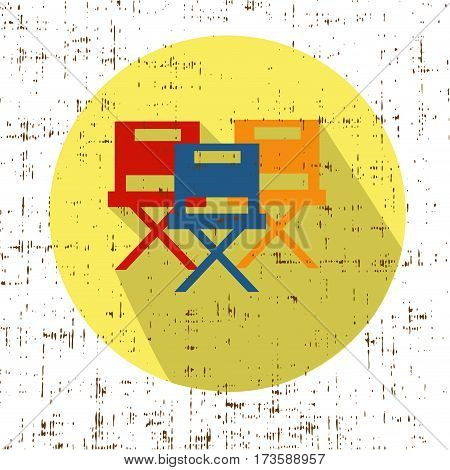 Chair Icon Vector retro vintage effect stock illustration
