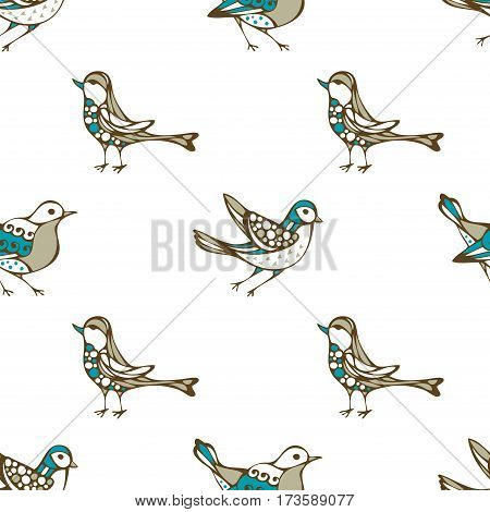 Vector Seamless Pattern Of Birds.
