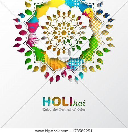 Holi holiday design with colorful watercolor splash and mandala. Vector illustration.